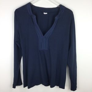 J. CREW navy blue long sleeve v-neck top